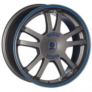 Sparco Rally - Matt Silver Tech Blue Lip
